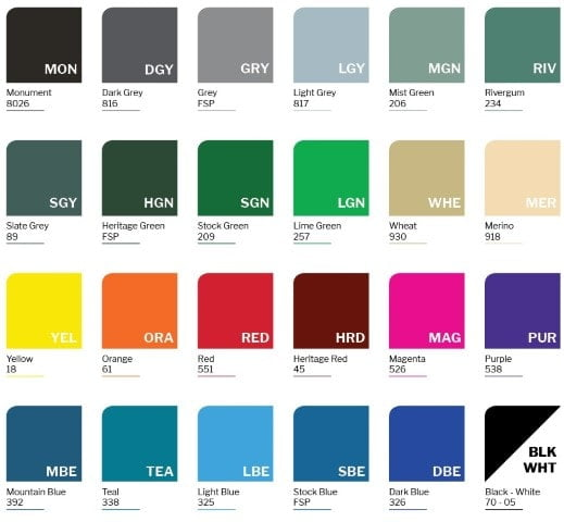 School Locker 25 colour chart